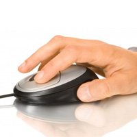 Hand using mouse to sign up for online drug and alcohol course